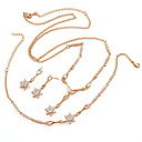 Fashion CZ And Brass With 18K Gold Plated Jewelry Set, Including Necklace,Earrings,Bracelet(0801-HYS0050)