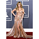 Kristen Stewart Trumpet/ Mermaid Off-the-shoulder Court Train Organza Elastic Woven Satin Grammy/ Evening Dress (FSM04603)