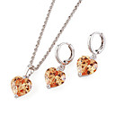 Fashion CZ And Brass With Platinum Plated Jewelry Set, Including Necklace,Earrings (0801-HYS0002)