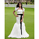 Trumpet/Mermaid Strapless Sweep/Brush Train Organza Satin Wedding Dress With A Wrap