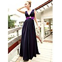 Sheath/ Column V-neck Floor-length Chiffon Elastic Woven Satin Ready-to-Wear Evening/ Prom Dress