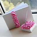 Luxury Wedding Guest Book and Pen Set With Pink Roses