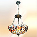 16 Inch Tiffany-style Floral Natural shell Material Inverted Pendant Light (0835-D8029)