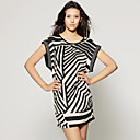 TS Black and White Abstract Print Dress