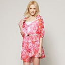 TS Pink Printed Bohemian Dress Inspired by RUNWAY Style