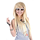 Capless Extra long Top Grade Quality Synthetic Light Blonde Straight Hair Wig