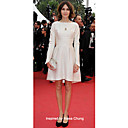 Satin A-line Bateau Short/ Mini Cocktail Dress inspired by Alexa Chung at Cannes Film Festival
