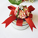 Clear Top Favor Tin With Red Flower (Set of 6)