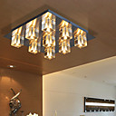 Contemporary Crystal Ceiling Light with 9 lights (Nickel Finish)