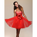 A-line Sweetheart Knee-length Tulle Cocktail Dress