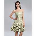A-line Strapless Knee-length Taffeta Bridesmaid Dress With Pick-Ups Skirt
