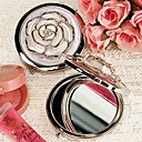 White Rose Cover Chrome Compact Mirror Favor
