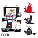 Complete Tattoo Kit with 3  Machines and LCD Power 15 Color Ink