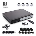 Kit CCTV 4 canales + 4pcs cámara domo blanco con 24leds HDD + 500 GB