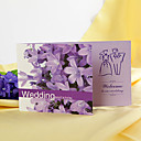 Chic Lilac Patterned Folded Wedding Invitation (Set of 60)