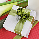 Square Favor Box With Green Rose (Set of 12)
