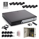 8CH All-in-one CCTV Kit + 8pcs Black Outdoor Waterproof Camera + 1000GB HDD