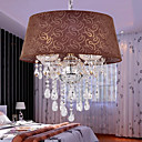 Brown Crystal Drop 4-Light Pendant Light with Fabric Lamp