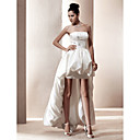 A-line Strapless Asymmetrical Satin Wedding Dress