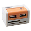 Colorful USB 2.0 COMBO 43 in 1 Card Reader with Hi-speed 2 Port USB Hub