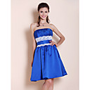 A-line Strapless Knee-length Satin Lace Bridesmaid Dress