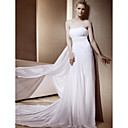 Sheath/Column Strapless Chapel Train Chiffon Wedding Dress