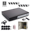 8-kanaals all-in-een CCTV-kit + 8st zilver 36led dome camera + 1000 GB hdd