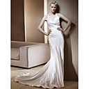 Sheath/Column Halter Chapel Train Elastic Woven Satin Wedding Dress