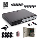 8 canali all-in-one kit cctv + 8pz nero 36led dome + 1000 GB HDD