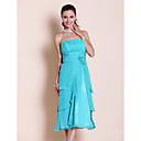 Sheath/Column Strapless Tea-length Chiffon Bridesmaid Dress