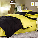 Solid Yellow Two-Tone 4-piece Queen-size Duvet Cover Set