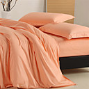 Solid Reactive Dyed 4-piece King-size Duvet Cover Set (Light Orange)