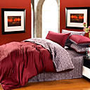 Burgundy 4-piece Queen-size Duvet Cover Set