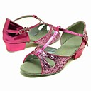 Sparkling Glitter Upper Pink Dance Shoes Ballroom Latin Shoes for Kids More Colors