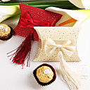 Pillow Shaped Favor Box With Bow And Tassel (Set of 12)
