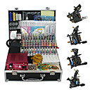 4 Guns Tattoo Kit with Compact Power and 55 Color Ink