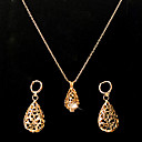Gorgeous Cubic Zirconia With 14K Gold Plated Wedding Jewelry Set Including Necklace And Earrings
