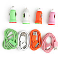 Colorful Car Charger + USB Cable for iPhone & iPod (Assorted Colors, Apple 30 pin, 5V 1A)