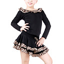 Dancewear Polyester With Leopard Practice Latin Top and Skirt 2 Pieces Set for Kids More Colors