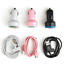 Dual USB Port Car Cigarette Charger with 30pin Cable for iPhone, iPad, iPod and Other Tablets