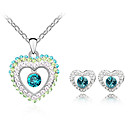Gorgeous Ladies Heart Shape Crystal Jewelry Sets In Sliver Alloy Including Necklace Earrings More Colors Available