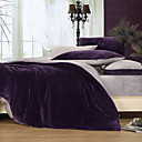 3PCS Solid Dark Purple Duvet Cover Set