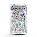 Reflective Protective Hard Silver Case with Crystals for iPhone 4