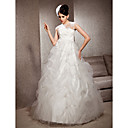 A-line Jewel Floor-length Tulle Lace Wedding Dress