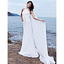 Sheath/Column Halter Watteau Train Chiffon Satin Wedding Dress