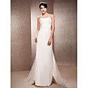 Sheath/Column Halter Neck Floor-length Satin And Tulle Wedding Dress