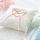 Satin Ring Pillow With Pearl Heart And Bow (More Colors)
