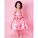 Ball Gown Spaghetti Straps Tea-length Stretch Satin Flower Girl Dress