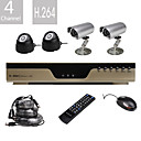 Ultra-Low-Preis 4-Kanal H.264 CCTV DVR-Kit mit 4 Nachtsicht-CMOS-Kameras