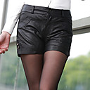 TS Black Sheepskin Leather Hot Shorts